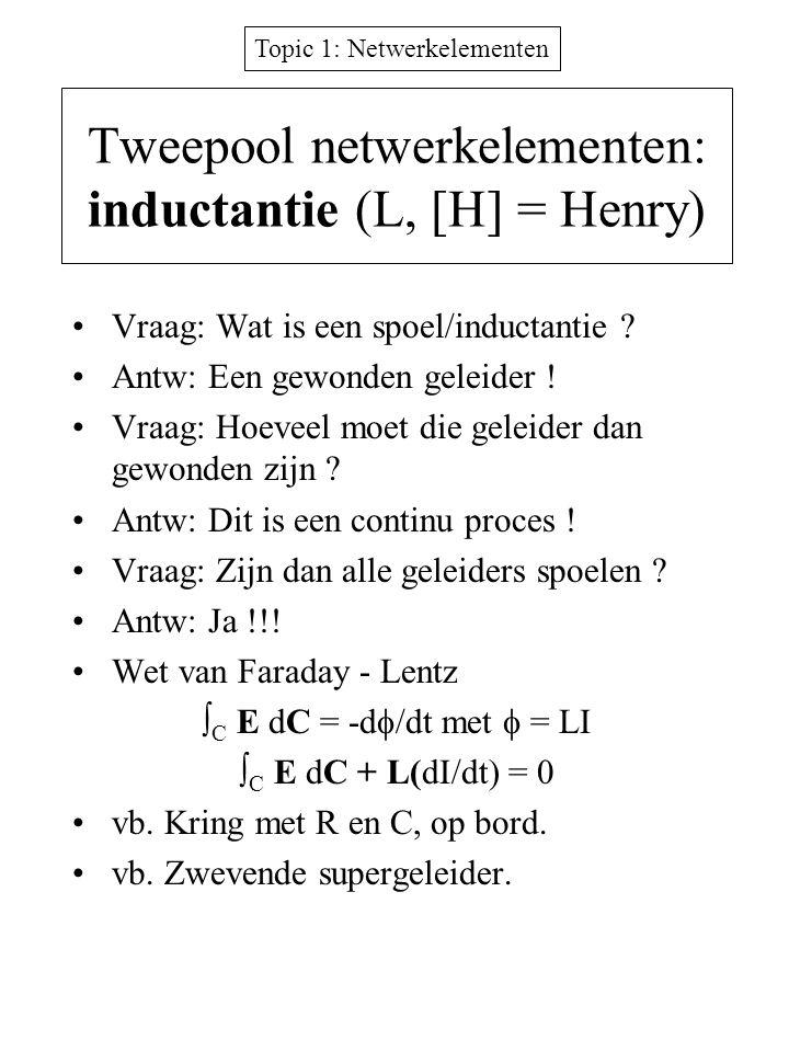 Tweepool netwerkelementen: inductantie (L, [H] = Henry)